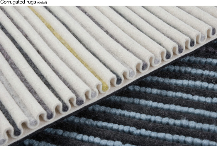 Corrugated Rug/fabric, material:manipulated felt structures). 2005